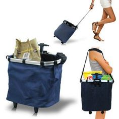 Reusable Shopping Cart Tote Back Saving Rolling Tote Trolley: Large, roomy size Folding Trolley, Trolley Cart, Diy Backpack, Cart Cover, Baggage Claim, Work Inspiration, Leather Design, Courses, Travel Accessories