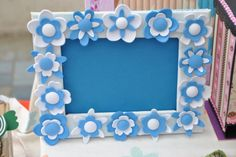 cornice bimbo in cartone con fiori in moosgummi/ gomma crepla