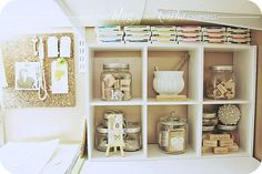 organize your craft room. use jars for stamps!