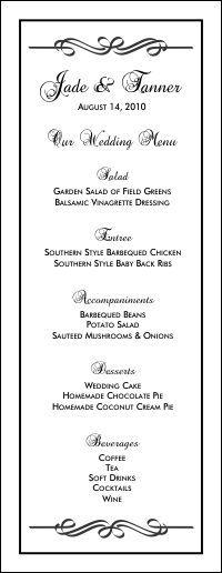 gray menu entree card wedding menu template instant download