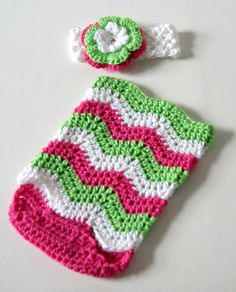 Hot Pink and Lime Chevron Romper with Matching Headband-crocheted photography prop, photography chevron romper, chevron romper and headband set