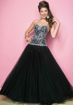 Buy 2014 Elegant Ball Gown Strapless with Sequins Organza Prom Dress for sale Online Cheap Prices