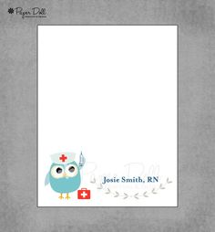 Nurse Owl Notepads - Doctor Nurse Clinic Medical Pediatrician Owl - Personalized Notepads