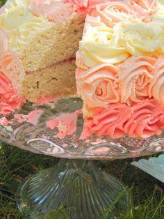 Ombre Vanilla Dream Cake with strawberry balsamic jam