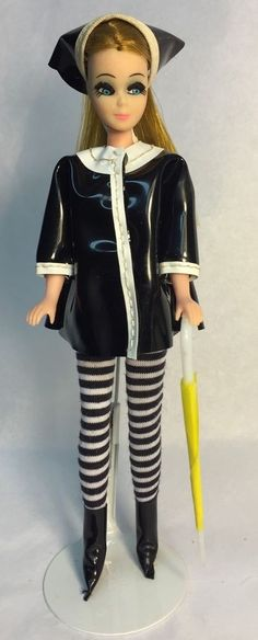 Vintage Topper Dawn Doll In Vintage Raincoat w/Matching Hat & Boots w/Stockings
