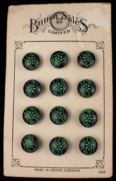"""ButtonArtMuseum.com -  Antique Tiny Glass Flowers Button Card 3 8"""" Czech French Doll Trim 12 Pcs"""