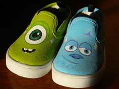 Painted Toddler Canvas Shoes - Monsters Inc. - Sulley - Mike Wazowski - James P… Disney Painted Shoes, Painted Canvas Shoes, Disney Shoes, Hand Painted Shoes, Toddler Shoes, Kid Shoes, Me Too Shoes, Custom Vans Shoes, Customised Shoes