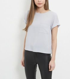 Grey Boxy Roll Sleeve T-Shirt    New Look