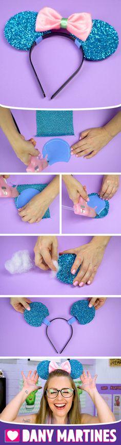 Faça você mesmo a Orelha da Minnie com o tema Sereia, arquinho, tiara, acessórios, gastando pouco, fácil de fazer, laço, sereias, DIY, Do It Yourself, Dany Martines