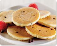 Market Day's Chocolate Chip Mini Pancakes - Delicious light and fluffy, silver dollar-sized buttermilk pancakes are chock full of semi sweet chocolate chips. Whether eaten for breakfast, lunch, dessert or as an after school snack, this is a great item for the entire family to enjoy.