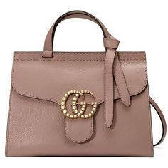 Gucci GG Marmont Small Pearly Top-Handle Satchel Bag (140.740 RUB) ❤ liked on Polyvore featuring bags, handbags, gucci, nude, top handle handbags, shoulder hand bags, nude handbags, brown purse and kiss-lock handbags