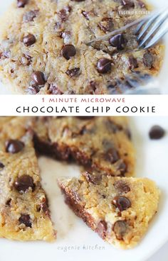 Healthy Snacks Microwave Chocolate Chip Cookies - Eggless Recipe - Eugenie Kitchen - Quick and easy individual chocolate chip cookie is done in 1 minute of cooking in the microwave oven. It's eggless and leavening agent-free. Eggless Recipes, Mug Recipes, Sweet Recipes, Baking Recipes, Mug Cookie Recipes, Easy Recipes, Kitchen Aid Recipes, Recipies, Microwave Chocolate Chip Cookie