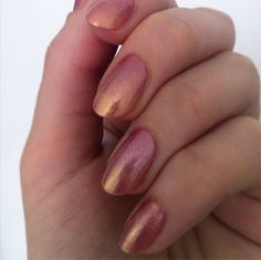 Pink and Gold gradient using Ulta3 Stardust (soft pink frost with silver microglitter) and Ozotic 745 (pink/gold duochrome shimmer)