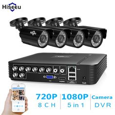 Buy Hiseeu CCTV security Camera System set AHD Waterproof street Camera outdoor video Surveillance Kit home Security Camera System, Surveillance System, Brand Store, Kit Homes, Brand Names, Communication, Street, Outdoor, Link