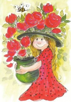 Postcard travelled km miles) in 7 days (from Finland to U.): Illustration by Virpi Pekkala From lintuu - Finland. Illustration Mignonne, Art Et Illustration, Illustrations, Art Floral, Images D'art, Art Fantaisiste, Art Mignon, Fantasy Paintings, Whimsical Art