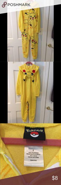 Pokémon PJ's Girls Pokémon pjs with hoodie & Pokémon face. So cute on. Fairly new & worn once & washed. Pokemon Pajamas Pajama Sets