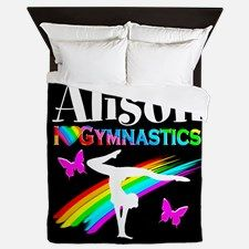 Gymnast Butterfly Queen Duvet Your Gymnast will be thrilled to decorate her room with our awesome personalized Gymnastics bed covers and pillow cases.   http://www.cafepress.com/sportsstar/10114301 #Gymnastics #Gymnast #WomensGymnastics #Lovegymnastics #Personalizedgymnast