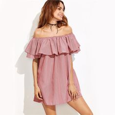 Product name: Flounce Layered Vertical Striped Bardot Dress at SHEIN, Category: Dresses Pink Fashion, Fashion Outfits, Stylish Outfits, Fashion Women, Fashion Ideas, Pink Bodycon Dresses, Tunic Dresses, Shift Dresses, Summer Dresses