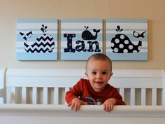 Nautical+Whale+Original+Canvas+Art+With+Child's+by+BabySullysArt,+$255.00