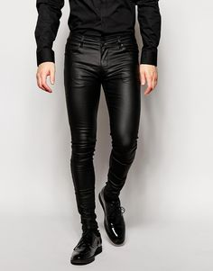 ASOS BRAND ASOS Extreme Super Skinny Jeans In Leather Look