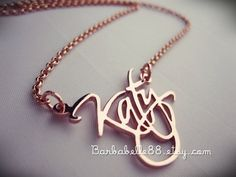 """Script font name jewelry - """"Amy"""" .. $30.00, via Etsy. --- Would love this for Sophia's name. Christmas maybe???"""