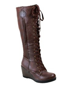 Another great find on #zulily! Reneeze Brown Tall Joyce Wedge Boot by Reneeze #zulilyfinds