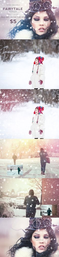 Natural Snow Overlays Photoshop SALE. Photo Effect Photoshop Actions. $5.00
