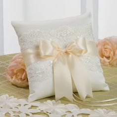 Image detail for -Chantilly Lace Wedding Ring Bearer Pillow Ivory with Ivory Ribbon