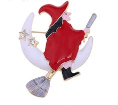 Enamel Halloween Brooch of a Witch on a Broom