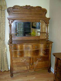 circa 1860-1875 Ornate Quarter Sawn Tiger Oak Sideboard Buffet $3,500