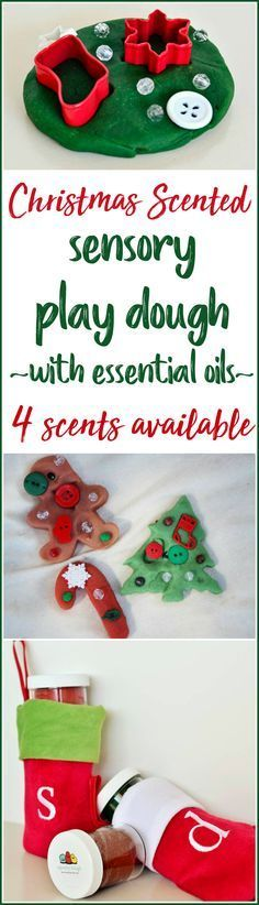 Christmas Scented Sensory Playdough with Essential Oils - 4 scents available! Scents of Peppermint, Tree trimmings, Gingerbread and Holiday spices fill the air with this scented, soft play dough 4 pack. This Christmas themed Squishy Dough 4 pack is festively colorful and delightfully scented - it makes the perfect sensory play activity and is an ideal gift for any child. Our nontoxic, safe ingredients are a fun new twist on a traditional favorite. #ad