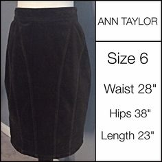 "HOLD FLASH SALE! ANN TAYLOR Soft Brushed Velveteen ANN TAYLOR Soft Brushed Velveteen-Feel Skirt Size Size 6 - Wore once and in good condition.  Dark brown color.  Straight skirt with some stretch.  Measurements: Waist 30""/Hips 38""/Length 23.  Material:  98% Cotton/2% Spandex.  Machine wash cold/tumble dry low. Ann Taylor Skirts Pencil"