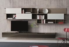 Wonderful modern tv cabinet design with wall mount shelving
