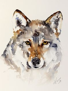 It is Sunday and time for me to share a new watercolor. This time I have a wolf. I use Winsor Newtons Professional watercolors and Daniel Smith's extra fine watercolors. The paper I use is 140lb Arches rough or fine | Karin