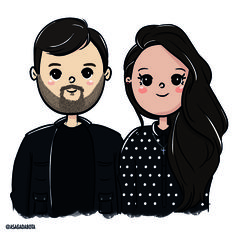 Meet your Posher, Angie Family Illustration, Portrait Illustration, Wedding Illustration, Frases Good Vibes, Scarlett, Couple Cartoon, Couple Art, Illustrations And Posters, Cute Love