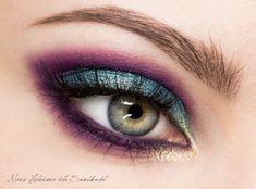 eggplant and teal smokey eye makeup