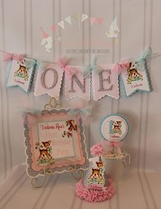 Distinctive Party Decorations, Holiday Sale Thru by ASweetCelebration 1st Birthday Girl Decorations, 1st Birthday Party For Girls, Girls Party Decorations, Girl Birthday Themes, Birthday Ideas, Retro Birthday Parties, Bambi, Birthday Packages, Happy 1st Birthdays