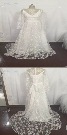 2017 Pretty Long Sleeves Lace Boho Beach Wedding Dresses Sheer Neck  Appliques Elegant Bridal Gown With Sash robe de soiree 82519a443c2f