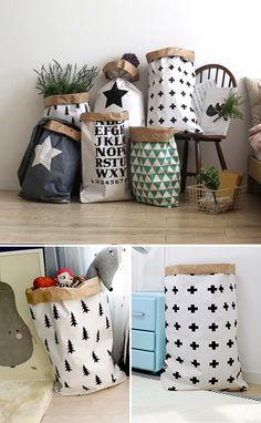Geometric paper bag storage paperbag storage Toy Storage (9.50 USD) by gridastudio