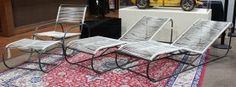 (lot Of 4) Mid Century 'bronze Age' Outdoor Furniture