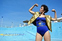 #wondrwoman Jacket and Belt up cycled out of abandoned inflatable