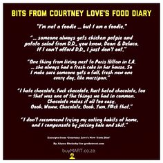 Happy Happy Courtney Love! Your foodie insight is a mad treat. Read the full diary: http://www.grubstreet.com/2012/05/courtney-love-new-york-diet-includes-babbo-brooklyn-fare.html  #SouthAfrica #buyMART #foodie #Movies #Rock #Cinema #Chef #Africa #CourtneyLove #Entrepreneur #StartUp #SouthAfrican #FoodPorn #Design #Creative #Ad #GraphicDesign #Advertising #Brand #Marketing #KurtCobain #Actress #Music #Instachef #PopCulture #Nirvana #CannesLions #Books #100dayproject #Grunge