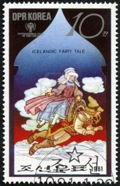 A stamp printed in North Korea shows a scene from an Icelandic fairy tale, series, ca 1981