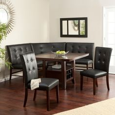 Layton Espresso 6-Piece Breakfast Nook Set Maybe we could get Joan to upholster them?