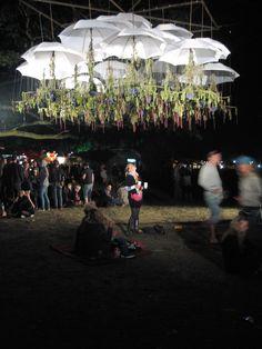 Claire Morgan 'Canopy' 2009 umbrellas, nylon, steel, Hydrangea, Amaranthus, Delphinium, and wild flowers collected on-site