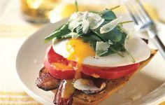 Open-Face Bacon-and-Egg Sandwiches with Arugula - Bon Appétit