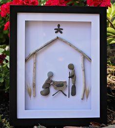 A nativity pebble art Nativity Crafts, Christmas Nativity, Christmas Art, Christmas Projects, Holiday Crafts, Stone Crafts, Rock Crafts, Christmas Pebble Art, Pebble Pictures