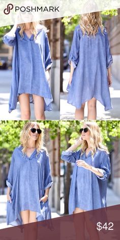 ❣️NEW IN❣️ Blue Asymmetrical Swing Tunic Dress Was a hit in the fall and is back for the spring! Brand new! Sizes S M L. Runs true/oversized. If in between sizes can size down. Dresses Mini