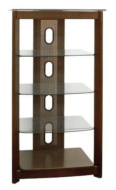 Poundex 5-Tier Glass Top Media Shelf, Chocolate by Poundex. $114.76. With 8mm clear tempered glass top; 3 middle shelves in 5mm clear tempered glass. Easy home assembly with hardware and accessories included; available also in silver finish. Handsome 5-tier media shelf unit from Poundex; with space for up to 5 AV components. Assembled, measures 23 inches wide by 19 inches deep by 40 inches high. Crafted with solid wood frame and bottom shelf finished in chocolate; cable...