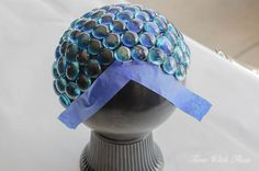 Use blue painter's tape to prevent glass gems from slipping and sliding / timewiththea.com